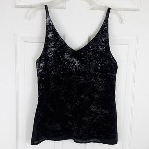 Romeo & Juliet Couture Black Metallic Velvet Tank